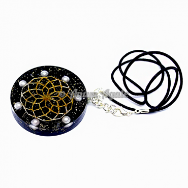 Black Tourmaline Flower Of Life Orgonite Pendant EMF Protection