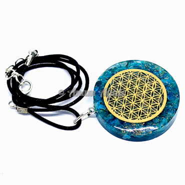 Aqua Flower Of Life Orgonite Pendant EMF Protection