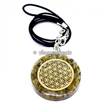 Peridot Flower Of Life Orgonite Pendant EMF Protection