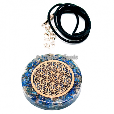 Lapis Lazuli Flower of Life Orgonite Pendant EMF Protection