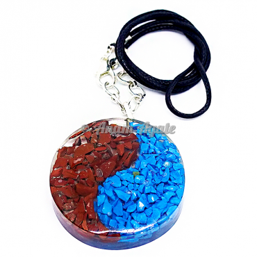 Ying Yang with Gemstone Chips Orgonite Pendant