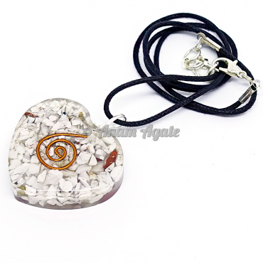 Howlite Orgonite Heart Pendant EMF Protection
