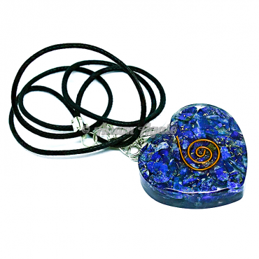 Lapis Lazuli Orgonite Heart Pendant EMF Protection
