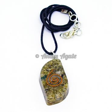 Peridot Orgonite Heart Pendant EMF Protection