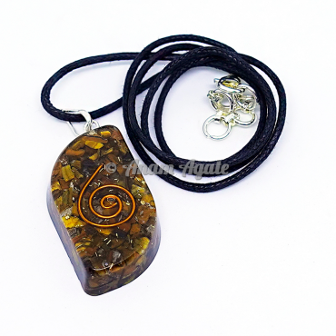 Tiger Eye Orgonite Eye Shape Pendant EMF Protection