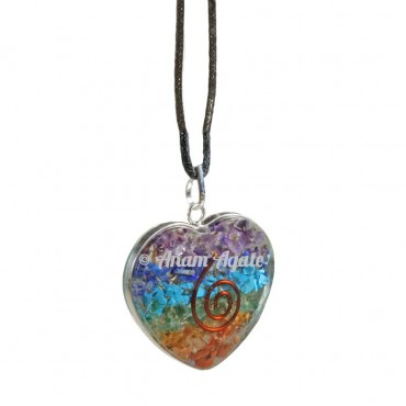 Chakra Layer Orgone Heart Pendants