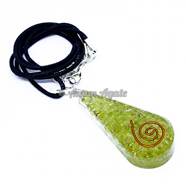 Peridot  Orgonite Drop Shape Pendant EMF Protection