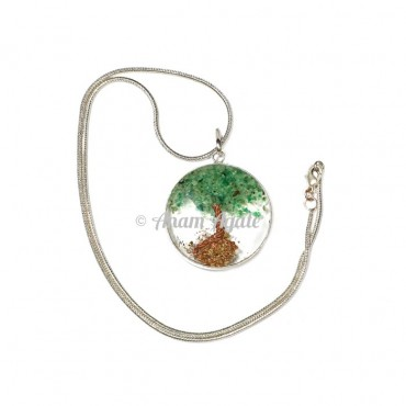 Green Aventurine Natural Tree Orgone Pendants