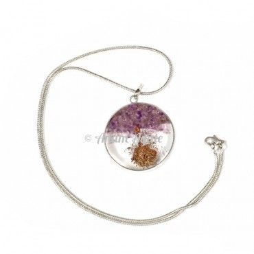 Amethyst Natural Tree Orgone Pendants