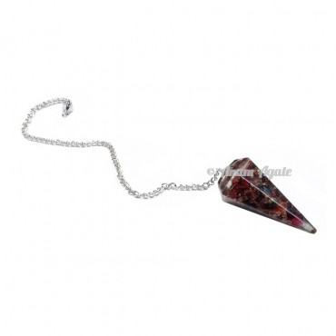 Garnet 6 Faceted Orgone Pendulum