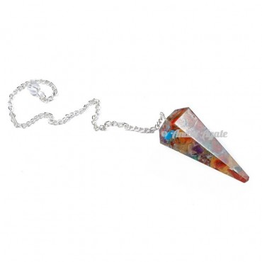 Multi Chips 6 Faceted Orgone Pendulum
