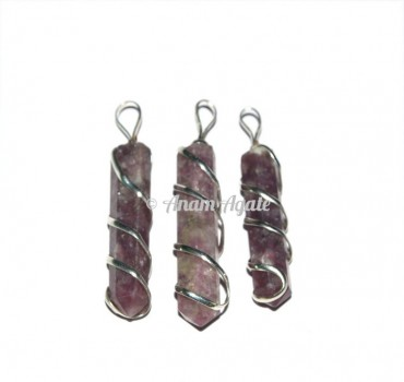 Lepidolite Wire Wrap Pencil Pendants