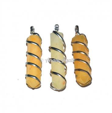 Golden Quartz Wire Wrap Pencil Pendants