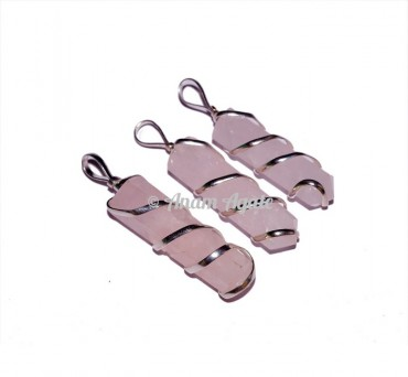 Rose Quartz Wire Wrap Pencil Pendants