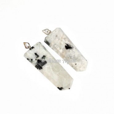 Rainbow Moonstone Flat Pencil Pendants