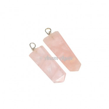 Rose Quartz Flat Pencil Pendants