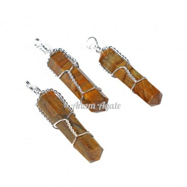 Tiger Eye Double Point Wrap Pendants