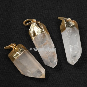 Crystal Quartz Natural Electroplated Pendants