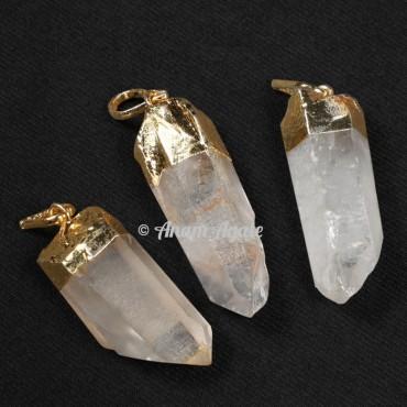 Crystal Quartz Natural Electroplated Pendants