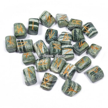 Green Zebra Jasper Rune set