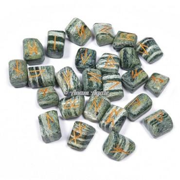 Green Zebra Jasper Rune set