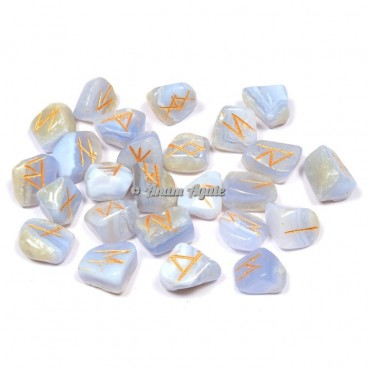 Blue Lace Agate Rune Set