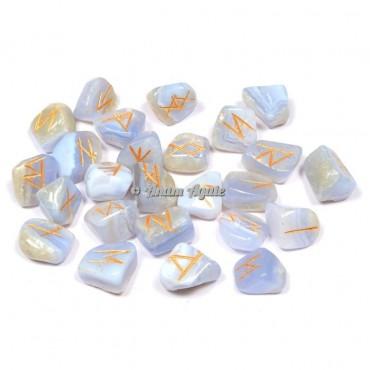 Blue Lace Agate Rune Set