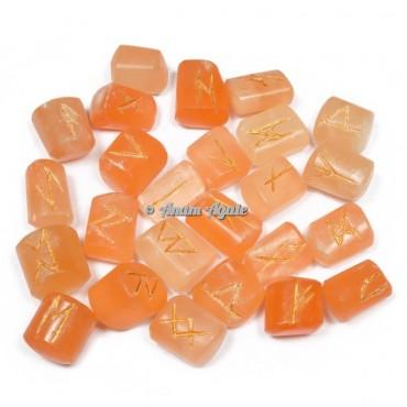 Orange Selenite Rune Set