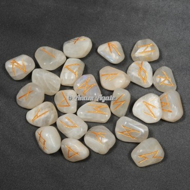 Cream Moon Stone Rune Set