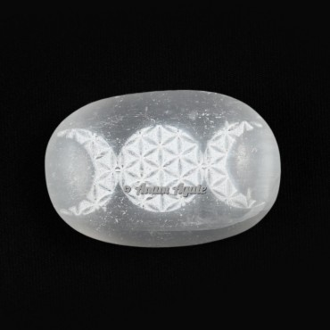 Engraved Tripple Moon on Selenite Cabochones
