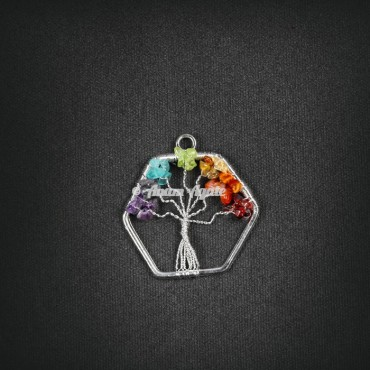 Tree Of Life  Pendant in Hexagon Shape