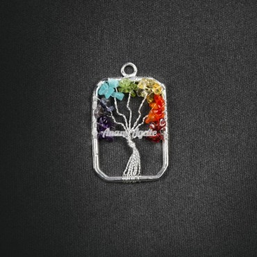 Vertical Tree Of Life Pendant in Rectangle Shape