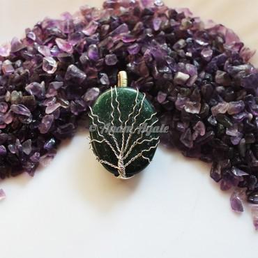 Green Jade Oval Tree Of Life Pendant