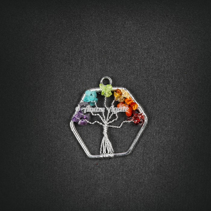 Tree Of Life  Pendant in Hexagon Shape
